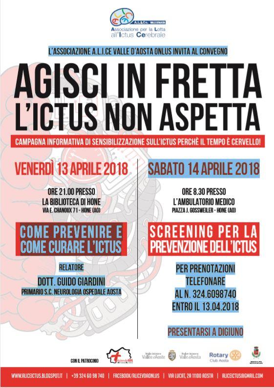 ALICe Valle d'Aosta. Convegno venerdì 13 aprile e screening pubblico sabato 14 aprile.